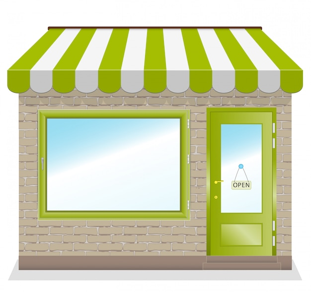녹색 차일을 가진 귀여운 가게