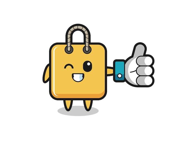 ソーシャルメディアの親指を立てるシンボル、tシャツ、ステッカー、ロゴ要素のかわいいスタイルのデザインとかわいいショッピングバッグ