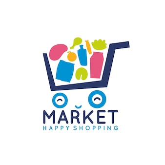 Cute shopping cart logo