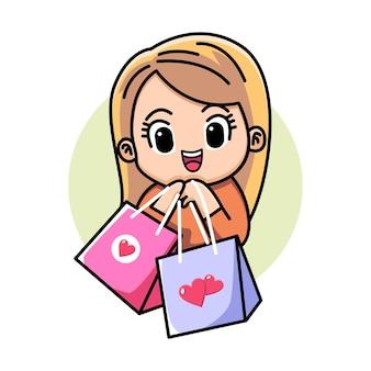 Милый мультфильм девушка шоппинг