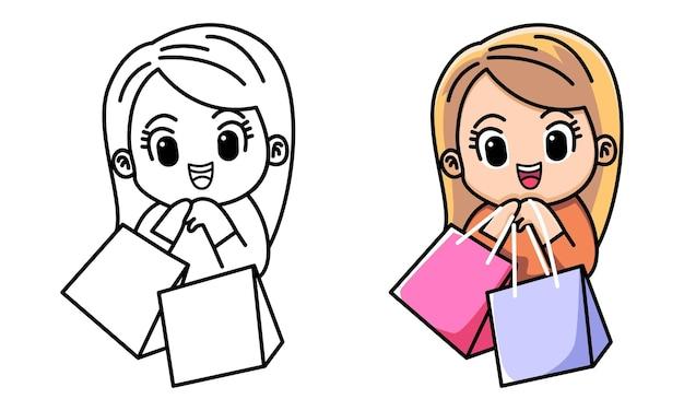 子供のためのかわいいショッピングの女の子の着色のページ