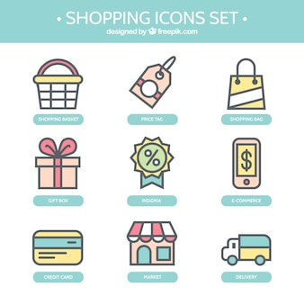 Cute shopping icons