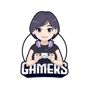 귀여운 짧은 머리 게이머 소녀 만화 캐릭터 마스코트 로고