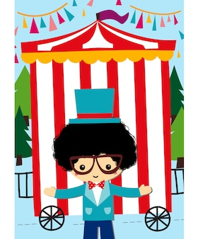 Cute showman with circus background