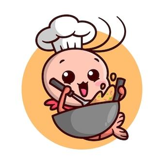 귀여운 새우 요리사가 큰 프라이팬으로 음식을 요리하고 있습니다. 고품질 만화 마스코트