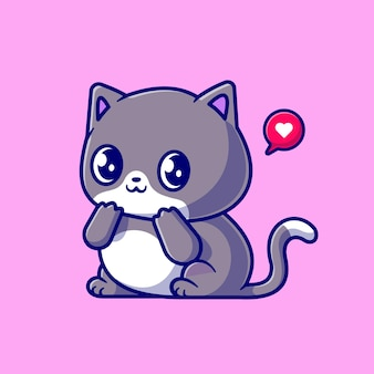 Милый застенчивый кот мультфильм вектор значок иллюстрации. концепция животного природы значок изолированные premium векторы. плоский мультяшном стиле