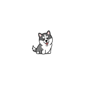 Cute siberian husky puppy icon