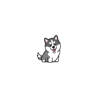 かわいいシベリアンハスキー子犬のアイコン