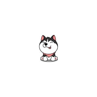 Милый щенок сибирской хаски сидит и улыбается мультфильм значок