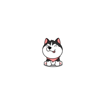 Cute siberian husky puppy sitting and smiling cartoon icon
