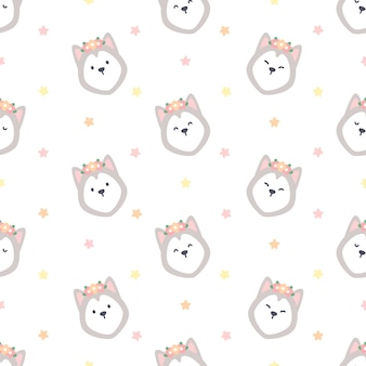 Cute siberian husky with flower crown seamless background repeating pattern, wallpaper background, cute seamless pattern background