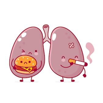 Симпатичный больной человеческий орган легких с гамбургером и сигаретой