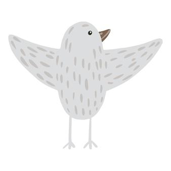 落書きスタイルのかわいいシンプルな鳥の灰色