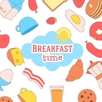 Cute and simple frame illustration with omelet, olive oil, eggs, milk, salt, onion, mushrooms