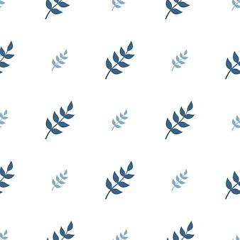 Симпатичный простой бесшовный узор с синими листьями и нежным принтом веточек для обертывания бумажного текстиля и ...