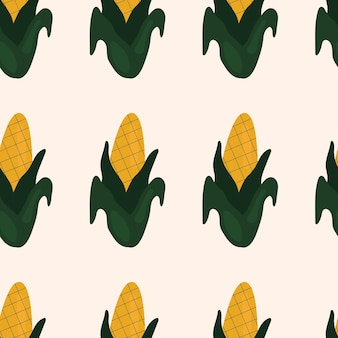 Cute simple seamless pattern with corn. illustration harvesting, vegetables, healthy plant food, vegetarian, farm product. wrapping paper design