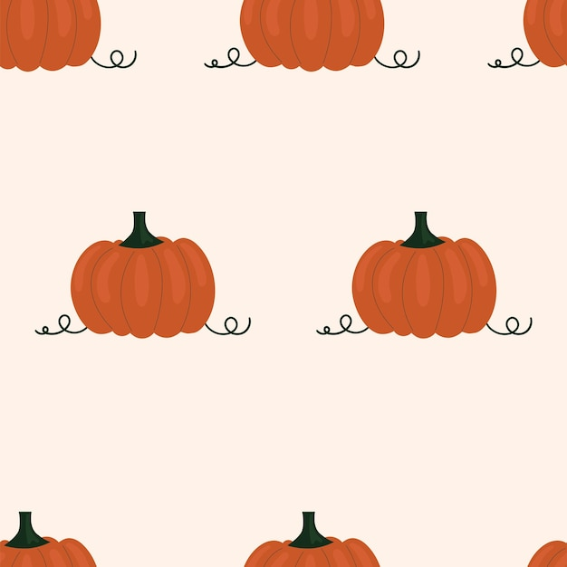 Симпатичный простой фон с тыквами. иллюстрация сбор урожая, овощи, здоровая растительная пища, вегетарианство, сельскохозяйственные продукты. дизайн упаковки, бумага для скрапбукинга