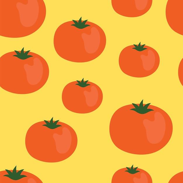 토마토와 귀여운 간단한 완벽 한 패턴입니다. 그림 수확, 야채, 건강에 좋은 식물성 식품, 채식주의자, 농산물. 포장지 디자인