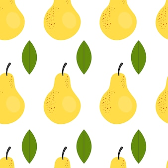 Cute simple seamless pattern with yellow pears. illustration harvesting, fruits, healthy plant food, vegetarian, farm product. wrapping paper design