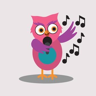Cute singer of owl cartoon character