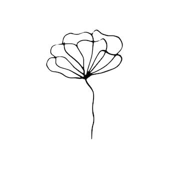 Симпатичные одной рисованной цветочные элементы. каракули векторные иллюстрации для свадебного дизайна, логотипа и поздравительной открытки.