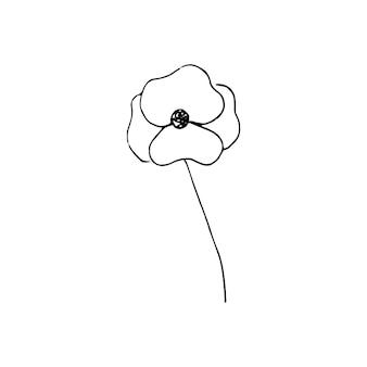 귀여운 한 손으로 그린 꽃 요소. 웨딩 디자인, 로고 및 인사말 카드에 대 한 낙서 벡터 일러스트 레이 션.