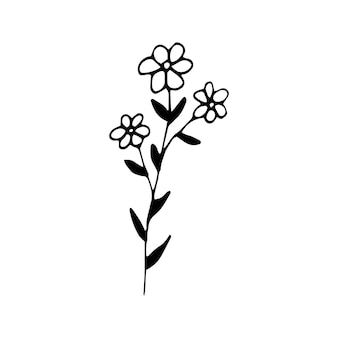 Cute single hand drawn floral elements. doodle vector illustration for wedding design, logo and greeting card.