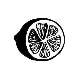 메뉴나 레시피를 위한 귀여운 한 손으로 그린 레몬. 낙서 벡터 일러스트 레이 션. 신선하고 맛있습니다.