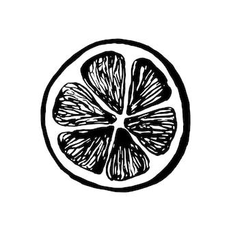 Симпатичные одной рисованной лимона для меню или рецепта. каракули векторные иллюстрации. свежо и вкусно.