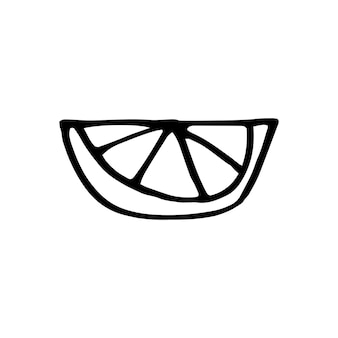 Cute single hand drawn lemon for menu or recipe. doodle illustration