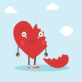 Cute single heart character with broken heart