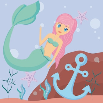 Cute siren with anchor and starfish