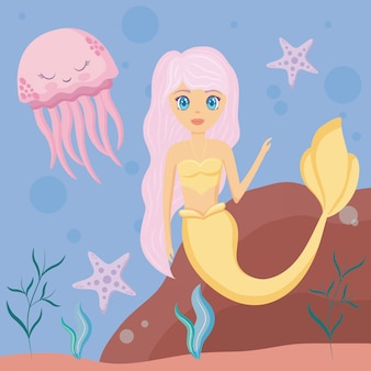 Cute siren with octopus and starfish