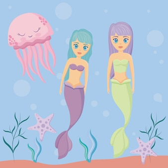 Cute sirens with octopus and starfish