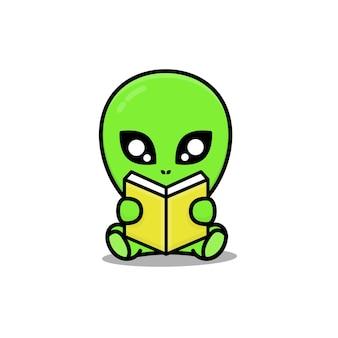 Cute sit alien reading book cartoon illustration