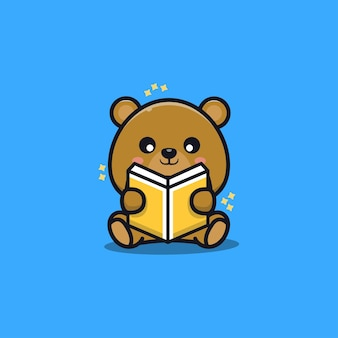 Cute sit bear reading book cartoon   illustration