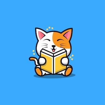 Cute sit cat reading book cartoon   illustration