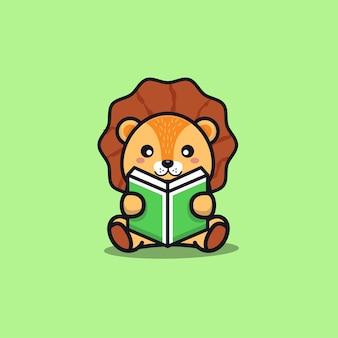 Cute sit lion reading book cartoon illustration