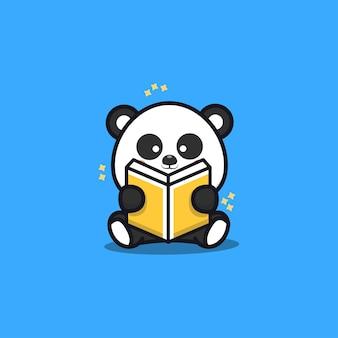 Cute sit panda reading book cartoon   illustration
