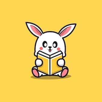 Cute sit rabbit reading book cartoon icon illustration