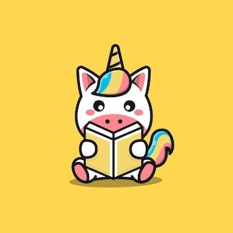Cute sit unicorn reading book cartoon   illustration