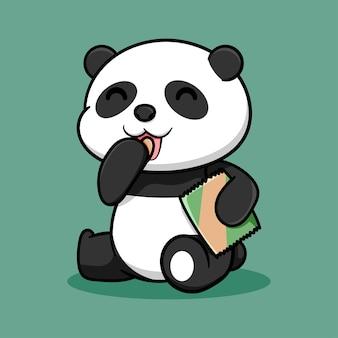 かわいい座っているパンダのデザインのチップを食べる