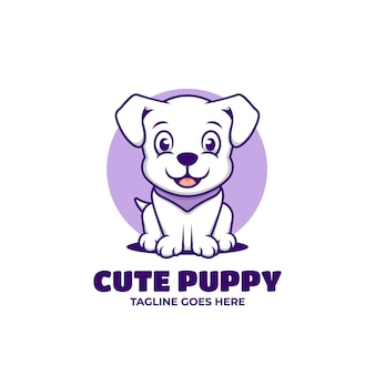 Cute sitting puppy cartoon kawaii
