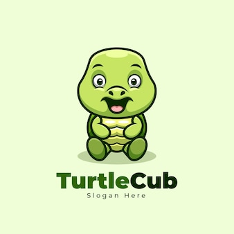 Cute sitting turtle cub cartoon mascot mascot logo design