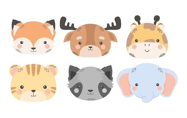 かわいい6匹の動物の漫画のキャラクター