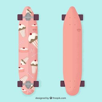 Cute skateboard with cupcakes design