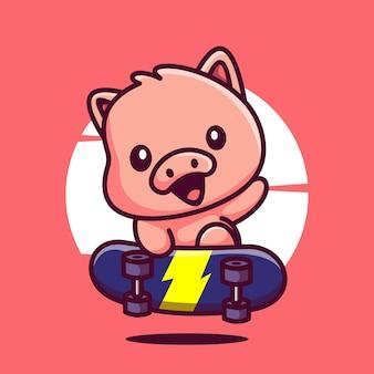 かわいいスケートボード豚漫画マスコットイラストベクトルアイコン
