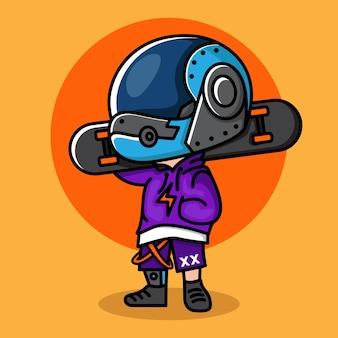 かわいいスケーターボーイサイバーパンクちびキャラクターデザイン