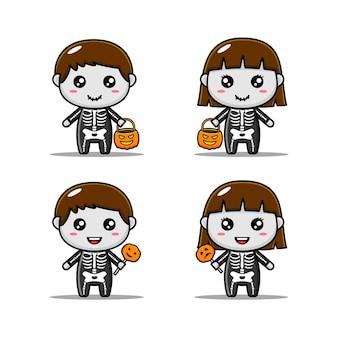 Набор персонажей хэллоуина с милым костюмом скелета