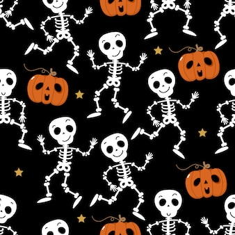 Cute skeleton dance and pumpkin seamless pattern